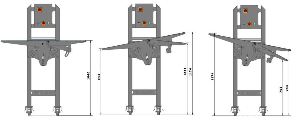 positions du convoyeur a inclinaison réglable - Tapis de compensation de hauteur